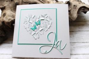Glückwunschkarte zur Hochzeit - Schmetterlinge und Herz - Kartenmeer
