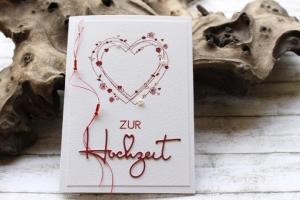 Glückwunschkarte zur Hochzeit - Herz mit Rosen, Perlen