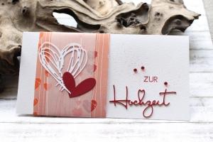 Glückwunschkarte zur Hochzeit - Zwei Herzen, besondere Kartenform