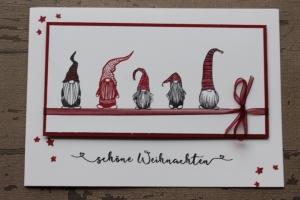 Handgefertigte Weihnachtskarte mit Wichtel ★