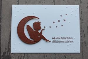 Handgefertigte Weihnachtskarte mit Engel★