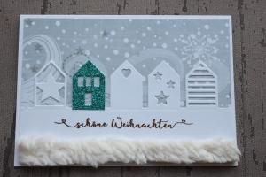 Handgefertigte Weihnachtskarte mit Häusern ★
