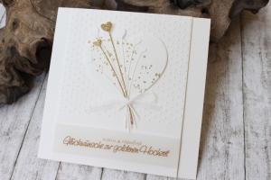 Hochzeitskarte, Glückwunschkarte zur Goldenen Hochzeit, gold, weiß