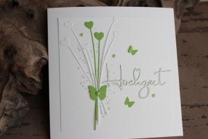 Hochzeitskarte, Glückwunschkarte zur Hochzeit, grün, weiß