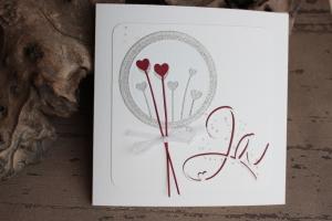 Hochzeitskarte, Glückwunschkarte zur Hochzeit, rot, weiß mit Herz-Motiv