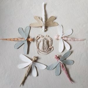 Komplettset dreidimensionale Modulgirlande ´Libelle Rose` , aus hochwertigen und natürlichen Materialien - Handarbeit kaufen