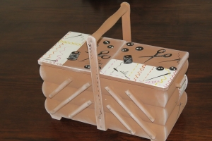 Nähkästchen Nähkasten Nähkorb Nähkiste Handbemalt Landhaus Holz Handarbeit groß