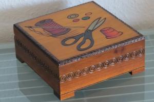 Nähkästchen Nähkasten Nähkorb Nähkiste Handbemalt Landhaus Holz Handarbeit groß - Handarbeit kaufen