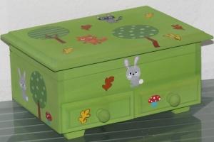 Schmuckkästchen Holzschatulle Holzkästchen Holzkiste Schatulle Box Holz 2 Schubladen
