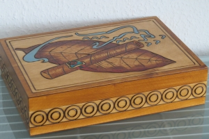 Zigarrenkiste Zigarrenbox Zigarrenetui Zigarren Holzbox Holz Box Kästchen sehr groß - Handarbeit kaufen