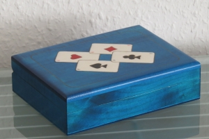 Kartenbox Holzbox Spielkartenbox Holz Box Kästchen Aufbewahrung Poker Skat Rome  - Handarbeit kaufen