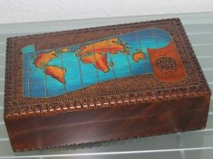 Schmuckkästchen Holzschatulle Holzkästchen Holzkiste Schatulle Box Welt Globus  - Handarbeit kaufen