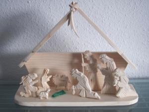 KRIPPE WEIHNACHTSKRIPPE Holzkrippe Figuren  SET Weihnachten groß - Handarbeit kaufen