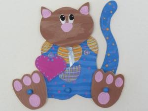 Kindergarderobe Katze Kinder Holz Garderobe 3D Garderobenhaken Kleiderhaken 3 Haken   - Handarbeit kaufen