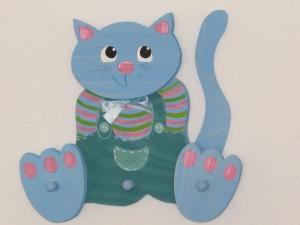 Kindergarderobe Katze Kinder Holz Garderobe 3D Garderobenhaken Kleiderhaken 3 Haken