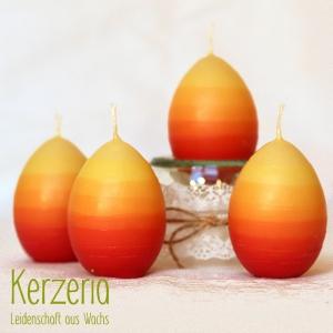 Gelb Orange Rot- 4 Osterkerzen handgemacht aus recyceltem Wachs