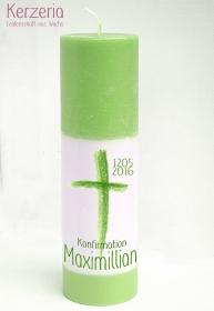 Konfirmationskerze Grün mit Kreuz handgemacht aus recyceltem Wachs