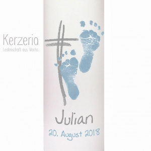 Echte Fußabdrücke Taufkerze Kreuz ☀Öko ☀ hellblau Grau handgefertigt