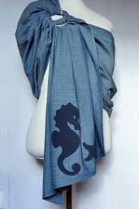 LEICHTER Denim Baby Ring Sling Tragetuch Carrier 180-250x70 Jeansblau