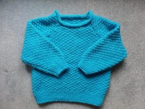 Pullover in Musterstrick Farbe Türkis - Handarbeit kaufen