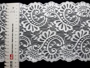 Spitzenborte elastisch weiß 18 cm breit - Handarbeit kaufen