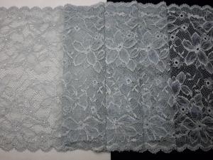 Spitzenborte elastisch silbergrau mit permutt 23 cm breit