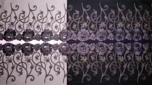 Edle Spitzenborte in schwarz, lila und kupfer bestickt 20 cm breit, gegengleich - Handarbeit kaufen