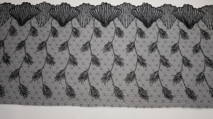 Elastische Spitzenborte schwarz 20 cm breit - Handarbeit kaufen