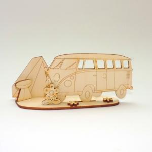 Reisebus, Bus Transporter mit Zelt und Grill als Geburtstagsset aus Holz zum Basteln - Handarbeit kaufen