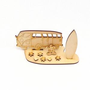 Reisebus, Bus mit Surfbrett als Geburtstagsgeschenk aus Holz zum Basteln und bemalen - Handarbeit kaufen