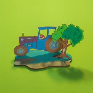 Traktor mit Baum, Fuchs und Hase als Geburtstagsset zum Basteln aus Holz für Traktorliebhaber - Handarbeit kaufen