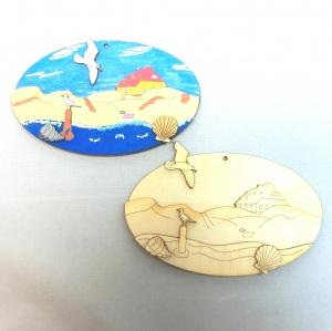 Meer Motiv mit Möwe, Ostsee, Wasser, Bastel Set aus Holz, 3D Optik, Strand Bild zum aufhängen. - Handarbeit kaufen