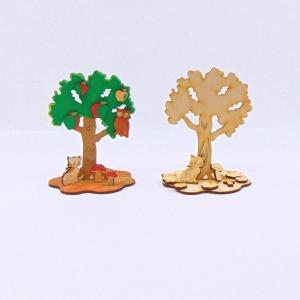 Apfelbaum mit Katze und Eule aus Naturholz Kreativset zum bemalen Kindergeburtstag, Set aus Holz, Basteln mit Kinder - Handarbeit kaufen