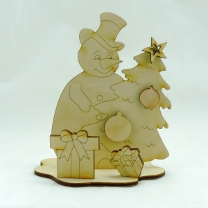Schneemann mit Tanne, Bastelset aus Holz für Weihnachten, Basteln mit Kinder, Weihnachtsdeko - Handarbeit kaufen