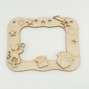 Bilderrahmen mit Engel, Sternen und Päckchen, Bastelset aus Holz zum Bemalen - Handarbeit kaufen