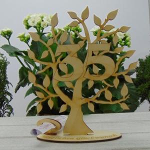Lebensbaum aus Holz35. Geburtstag,  mit Gravur Geldgeschenk Gutscheingeschenk - Handarbeit kaufen