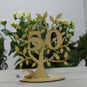 Lebensbaum aus Holz 50. Geburtstag,  mit Gravur Geldgeschenk Gutscheingeschenk - Handarbeit kaufen
