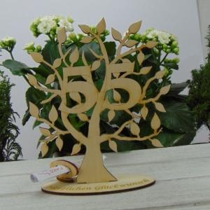 Lebensbaum aus Holz 55. Geburtstag,  mit Gravur Geldgeschenk Gutscheingeschenk - Handarbeit kaufen