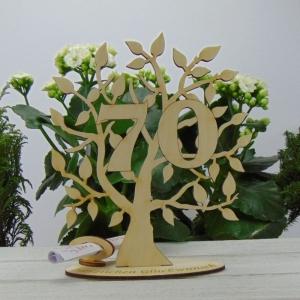 Lebensbaum aus Holz 70. Geburtstag,  mit Gravur Geldgeschenk Gutscheingeschenk - Handarbeit kaufen