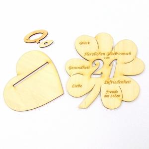 Geldgeschenk zum 21. Geburtstag Kleeblatt 11 cm,  Herzlichen Glückwunsch zum 21 - Handarbeit kaufen