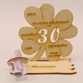 Personalisiertes Geschenk zum 30. Geburtstag Kleeblatt 11 cm,  Geldschein und Gutschein Geschenk - Handarbeit kaufen