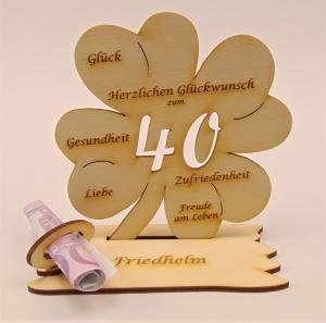 Personalsiert 40. Geburtstag Kleeblatt Holz, Geldgeschenk oder Gutschein Geschenk  - Handarbeit kaufen