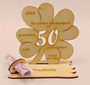 Personalisiert zum 50. Geburtstag Kleeblatt Holz mit Geldscheinhalter und Gutscheinhalter 11cm - Handarbeit kaufen
