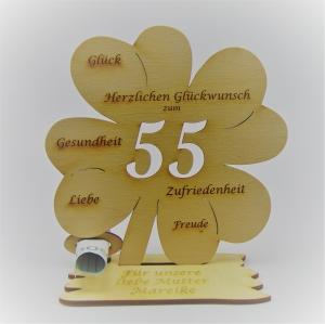Geldgeschenk zum 55. Geburtstag Kleeblatt 16 cm,  Herzlichen Glückwunsch zum 55 Personalisiert - Handarbeit kaufen