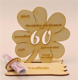 Personalisiert zum 60. Geburtstag Kleeblatt aus Holz mit Geldscheinhalter und Gutscheinhalter - Handarbeit kaufen