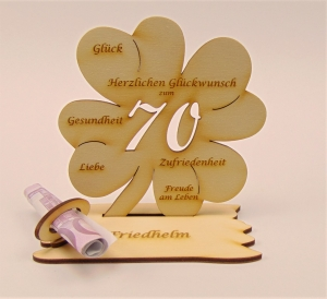 Personalisiert ♥  zum 70. Geburtstag ♥ Kleeblatt 16 cm  aus Naturholz für Geld oder Gutschein Geschenk - Handarbeit kaufen
