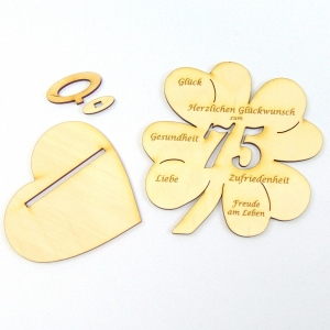 Geldgeschenk zum 75. Geburtstag Kleeblatt 11 cm,  Herzlichen Glückwunsch zum 75 - Handarbeit kaufen