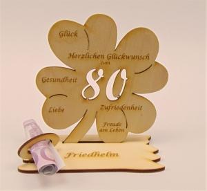 Personalisiert zum 80. Geburtstag Kleeblatt aus Holz mit Geldscheinhalter und Gutscheinhalter - Handarbeit kaufen