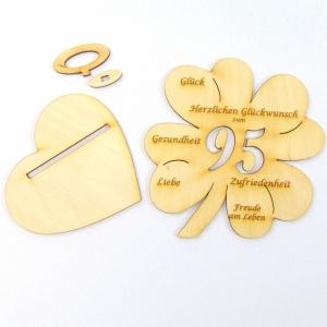 Personalisiertes Geburtstagsgeschenk ♥zum 95. Geburtstag ♥ Kleeblatt 16 cm,  Vollholz für Geld und Gutscheingeschenk - Handarbeit kaufen