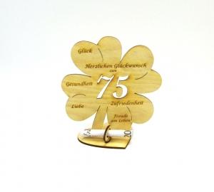 Geldgeschenk Kleeblatt 16 cm zum 75. Geburtstag,  Herzlichen Glückwunsch zum 75 - Handarbeit kaufen